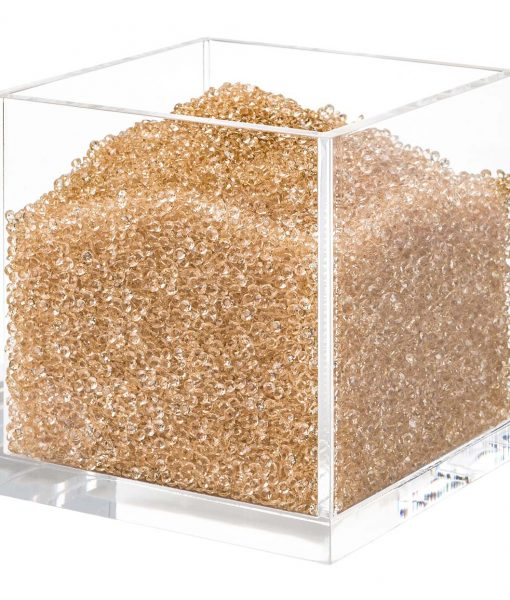 Acrylic Cube Organizer with Crystals (GOLD)