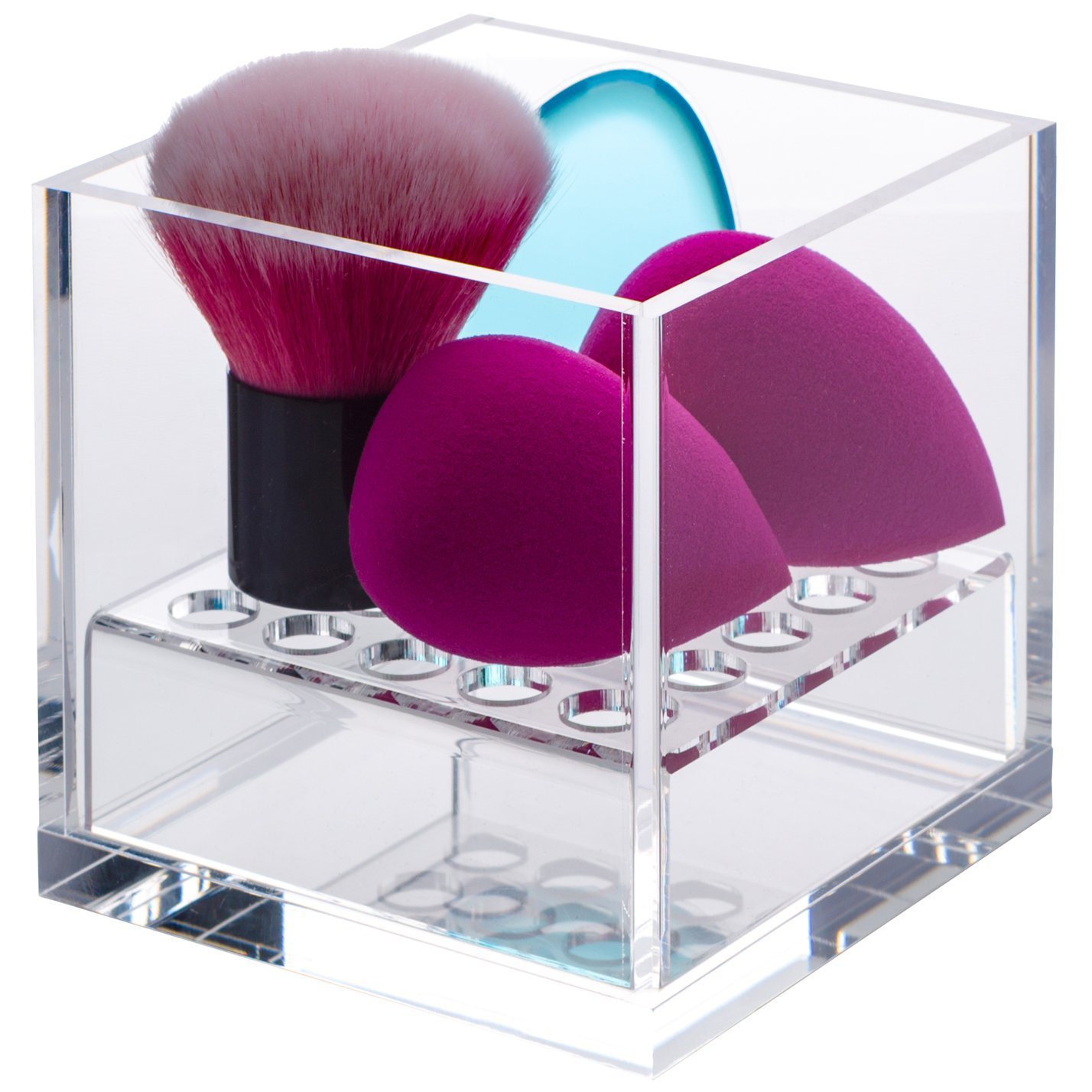 Acrylic Cube Cosmetic Organizer For Beauty Blender And Sponge