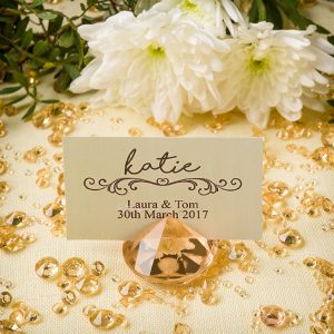 Diamond Place Card Holder & Diamond Table Confetti Set GOLD