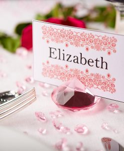 Diamond Place Card Holder & Diamond Table Confetti Set PINK 1