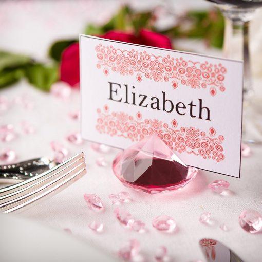 Diamond Place Card Holder & Diamond Table Confetti Set PINK 1