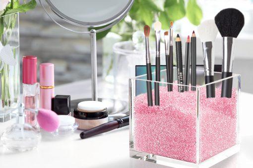 Pink makeup brush holder