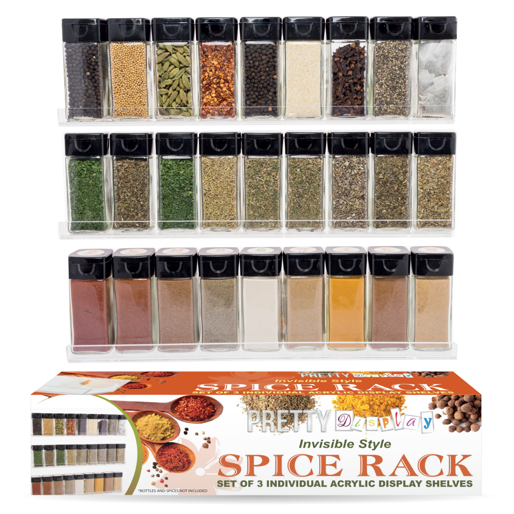 Pretty Display Invisible Acrylic Spice Rack - 3 Shelf Set - Wall Mount - Holds 27 Bottles