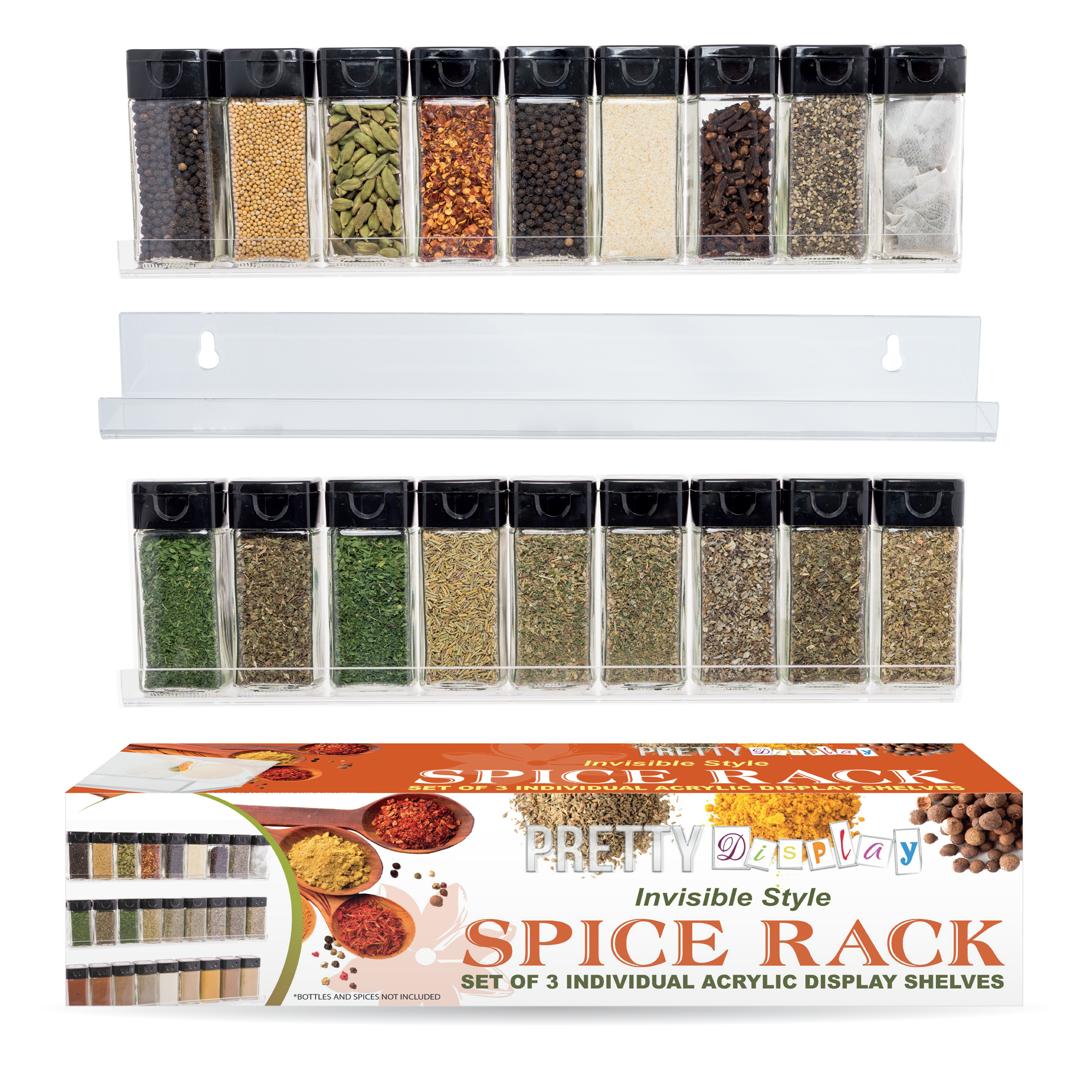 Spice Rack - 3 Shelf Acrylic Spice Rack Set by Pretty Display