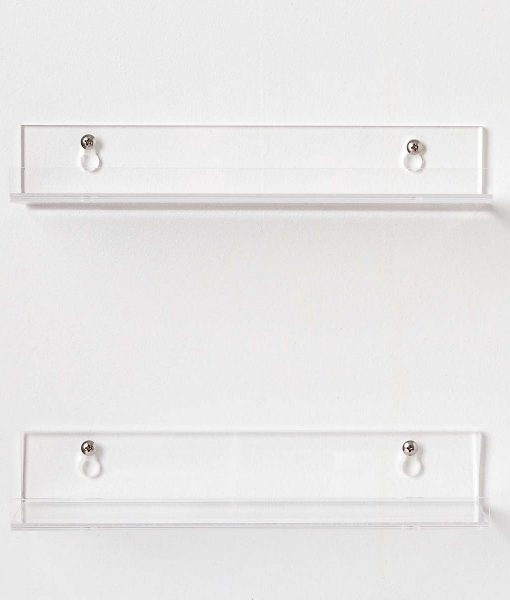 modern bathroom acrylic shelves