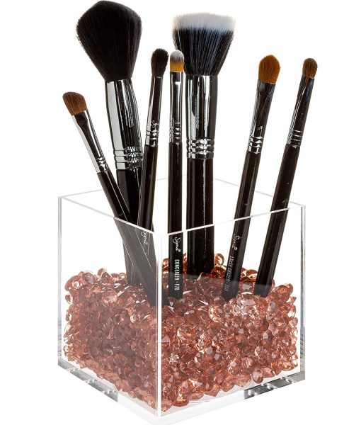 rosegold acrylic makeup brush holder