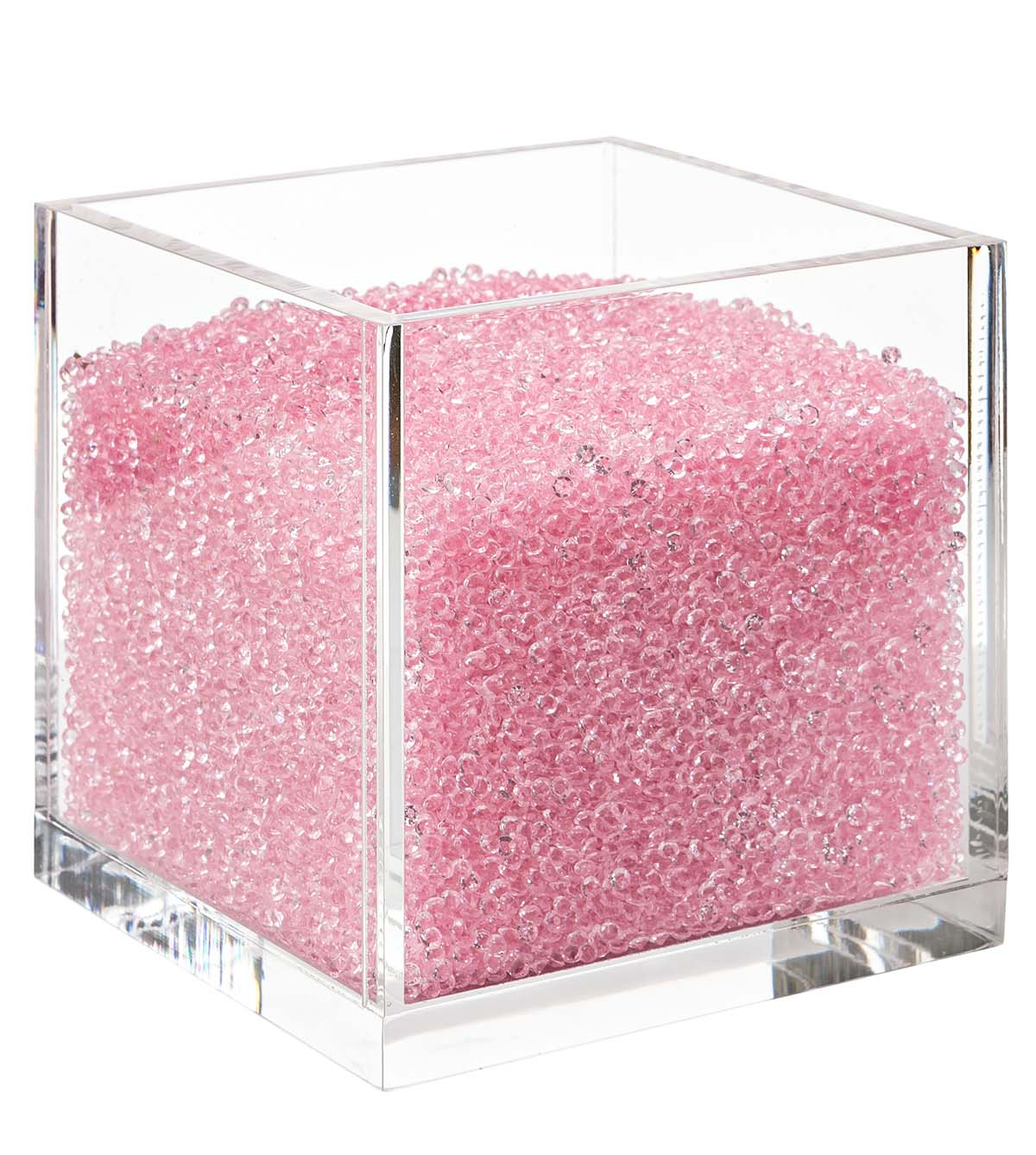 Acrylic Cube Organizer With Crystals Pink