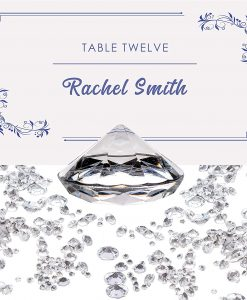Luxury Diamond Place Card or Table Number Holder Clear