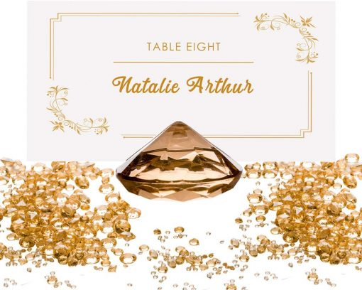 Luxury Diamond Place Card or Table Number Holder Gold