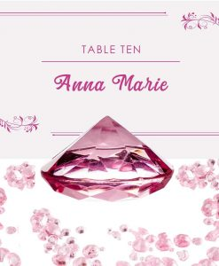 Luxury Diamond Place Card or Table Number Holder Pink