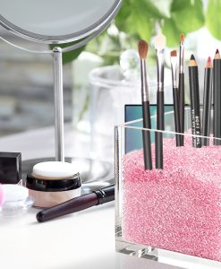 Pink makeup brush holder