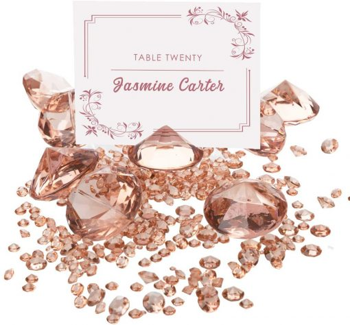 ROSE GOLD Diamond Table Number Holder & Place Card Holders