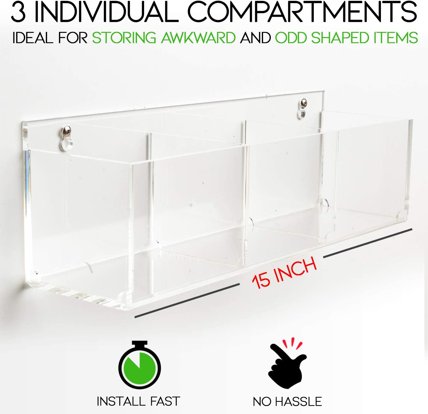 Invisible Bathroom Organizer Wall Mounted Or Free Standing Luxury Bathroom Decor 15 Clear Acrylic Bathroom Shelf With 3 Sections For Toiletries Makeup Toothbrushes Over The Toilet Storage Pretty Display Making Your