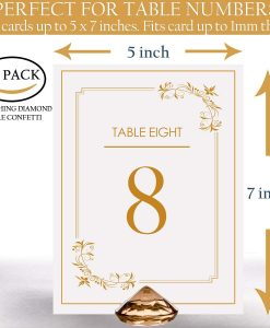 gold diamond table card holder