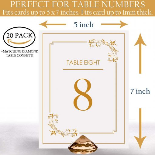 gold diamond table card holder