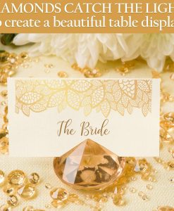 gold diamond table setting wedding