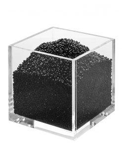 makeup brush holder with black acrylic diamonds