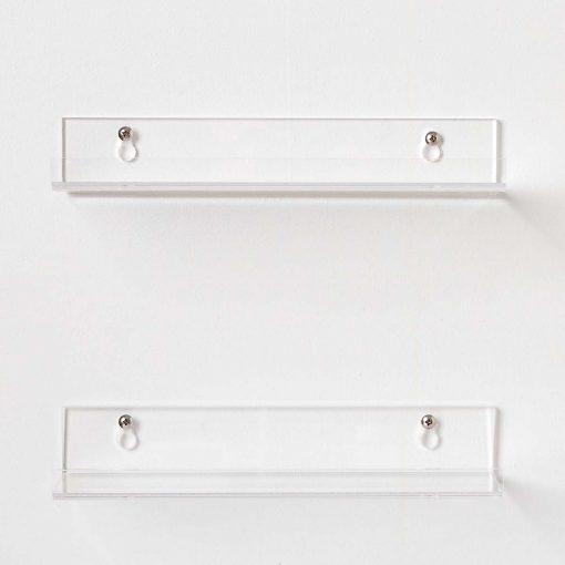 modern bathroom acrylic shelves