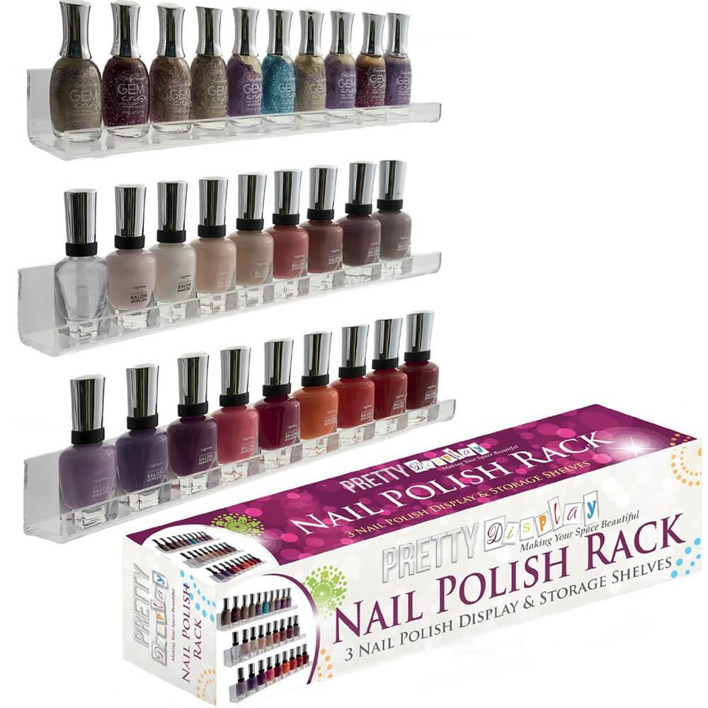 Acrylic Nail Polish Rack Wall Mount Holds 45 Bottles