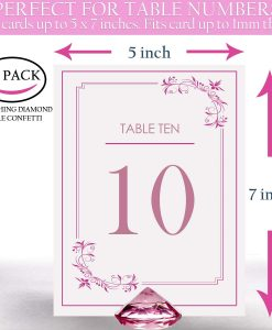 pink diamond table card holder