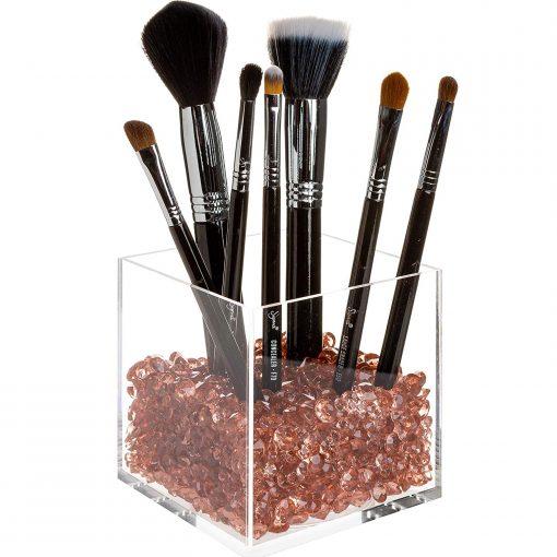 rosegold acrylic makeup brush holder