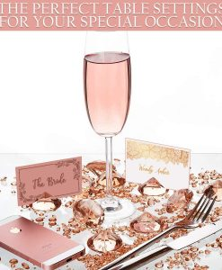 rosegold table setting for wedding